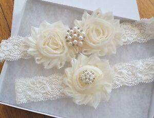 Wedding-Garter-Set-IVORY-Shabby-Flower-Wedding-Garter-Set