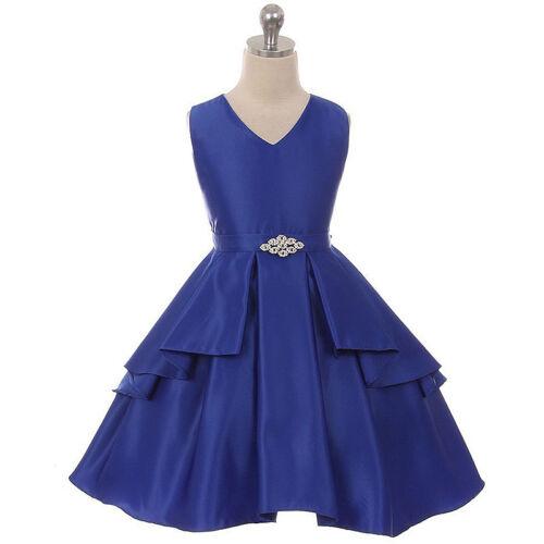 ROYAL BLUE Flower Girl Dress Princess Dance Pageant Wedding Gown Formal Birthday