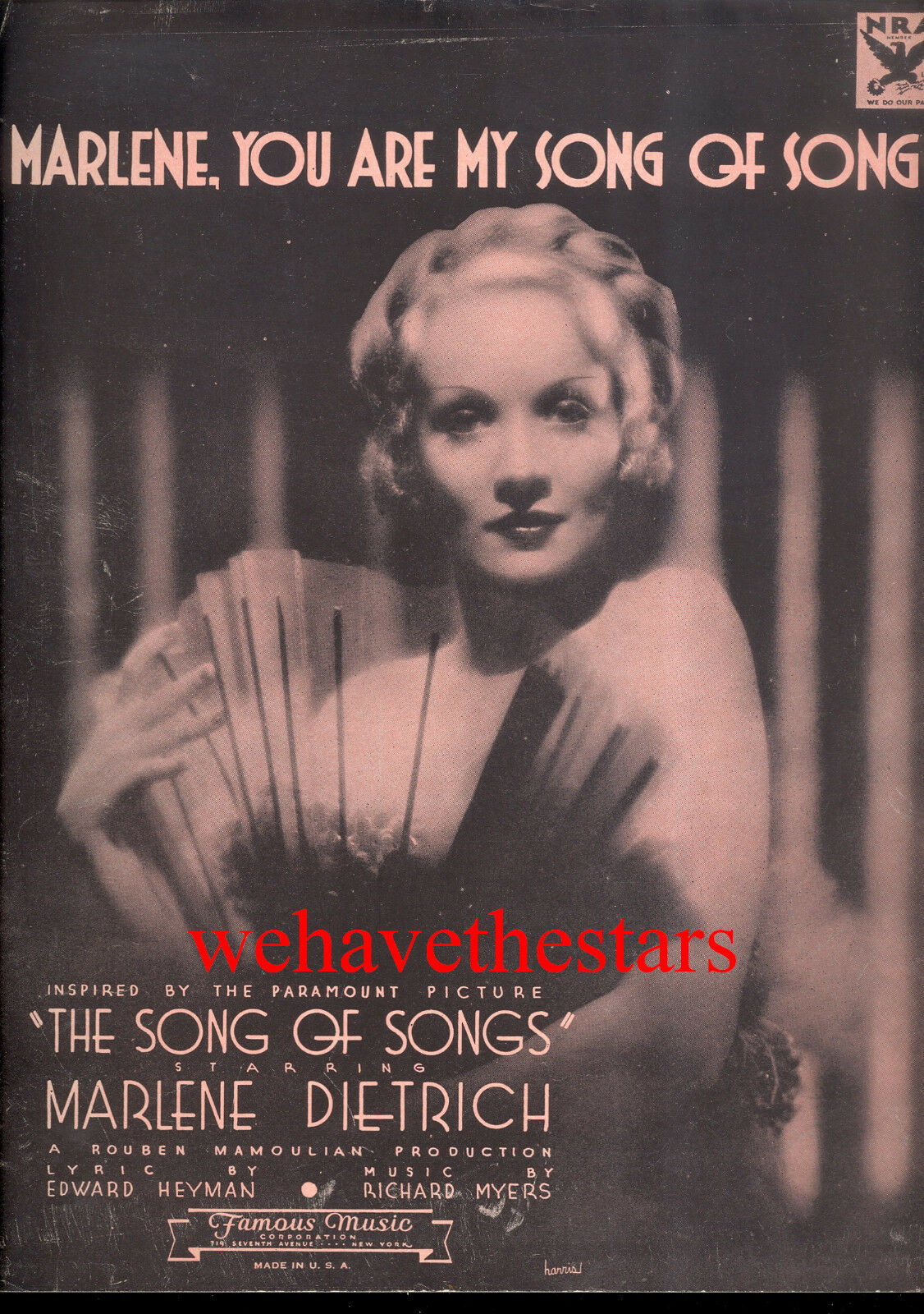 SONG OF SONGS Sheet Music  Marlene, You Are My Song Of Songs  Marlene Dietrich