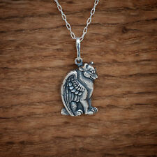 Handcast 925 Sterling Silver Winged Wolf Dog Angel Pendant FREE Cable Chain