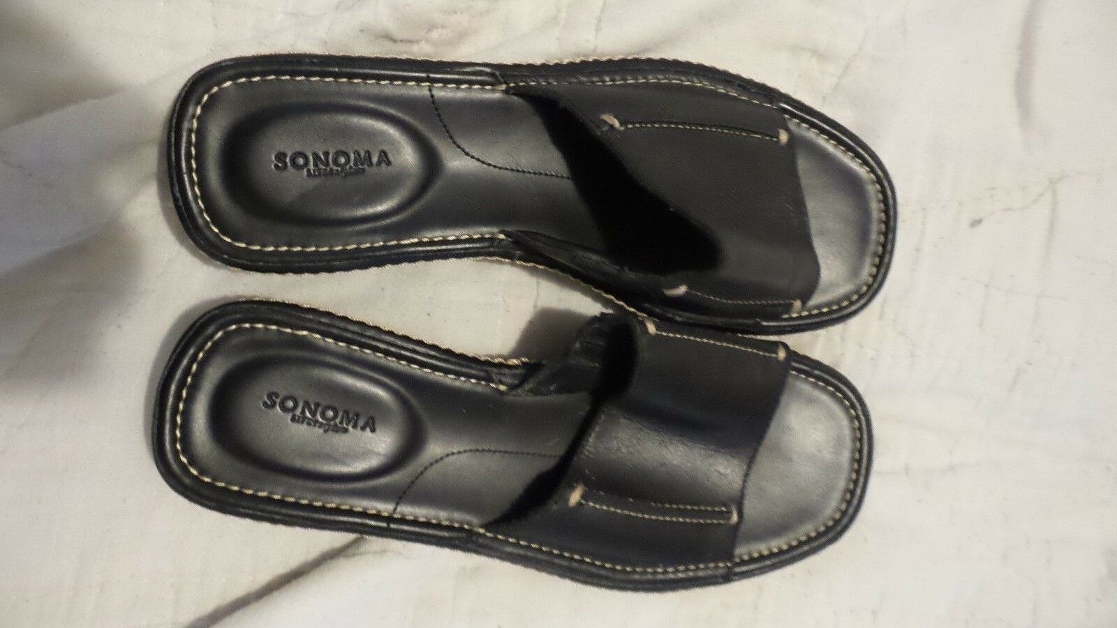 Sonoma Slip on Stitched Sandal Black Stap Top Stitched on Leather Size 8 a36537