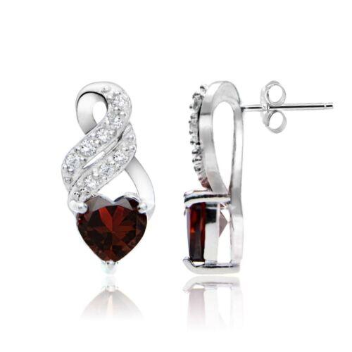 Sterling Silver Garnet et Blanc Topaze Coeur doubletwist Boucles d/'oreilles