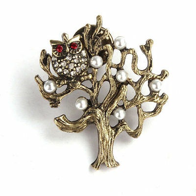 New Hot Retro Vintage cute little owl pearl tree brooch Pin jewelry SH S6D1 V3T8