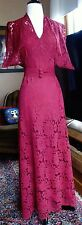 Vintage 40s Bias Cut 3 Pc Long Lace Ruched Halter Evening Dress Underslip Bolero