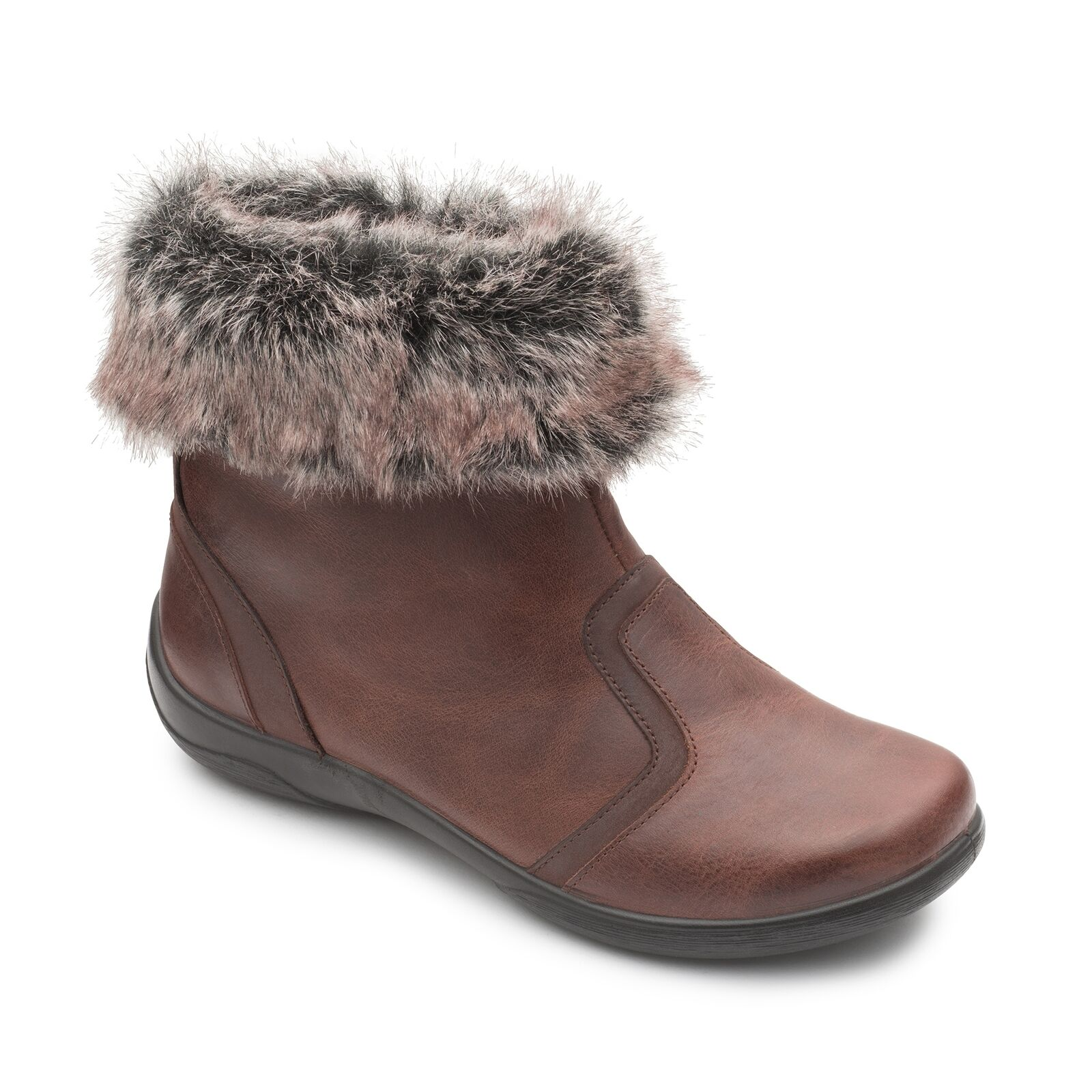 Padders CLARINET Ladies Leather Extra Wide (2E 3E) Cosy Warm Ankle Boots Brown