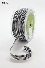 1M May Arts Grosgrain Black White Stripe Ribbon Trim Sewing Decor Gift Tag Bear