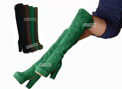 Women's Fashion High Heel Boots Over The Knee Casual Shoes AU All Size YB205