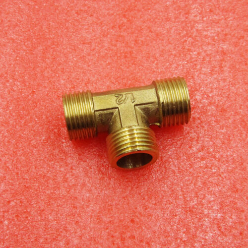 """Brass Gold T Shape Water Fuel Pipe Equal Tee Adapter Connector 1//2/"""" Thread"""
