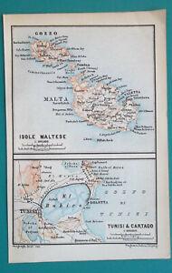 MALTA-Archipelago-amp-Tunis-Environs-1883-MAP-Baedeker-4-x-6-034-10-x-15-5-cm