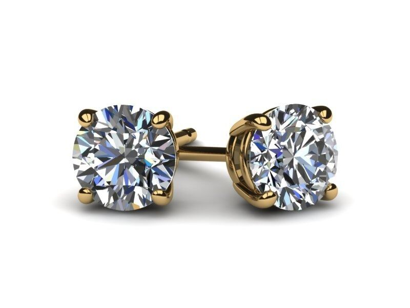 2.5 CARAT D VVS2 CERTIFIED ROUND CUT DIAMOND STUD EARRINGS 18K YELLOW gold