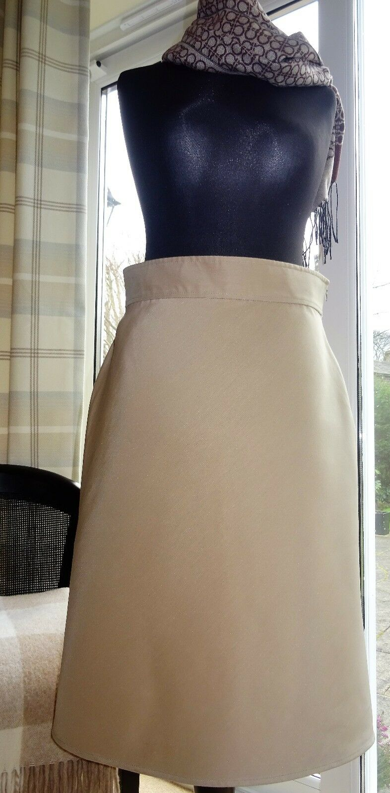 VALENTINO  NEW with tag Silk Cotton blend Beige SKIRT    Size IT46 48