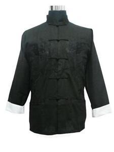 M L XL XXL XXXL Handsome Chinese men/'s silk clothing jacket//coat Black SZ