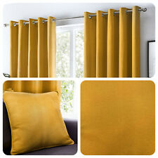 Fusion SORBONNE - Ochre Mustard Yellow 100% Cotton Eyelet Curtains or Cushions