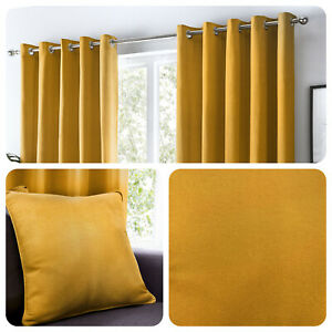 Fusion-SORBONNE-Ochre-Mustard-Yellow-100-Cotton-Eyelet-Curtains-or-Cushions