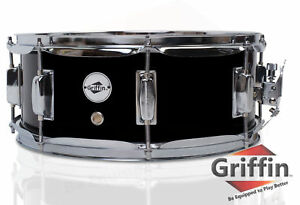 Griffin-Snare-Drum-Black-14x5-5-Poplar-Wood-Shell-14-034-Percussion-Kit-Set-5-5-034