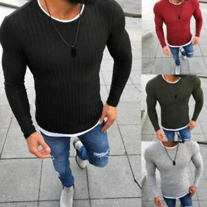 Men-039-s-Sweater-Solid-Knitted-Pullover-thin-O-Neck-Slim-Fit-Sweater-Pullovers-LOVE