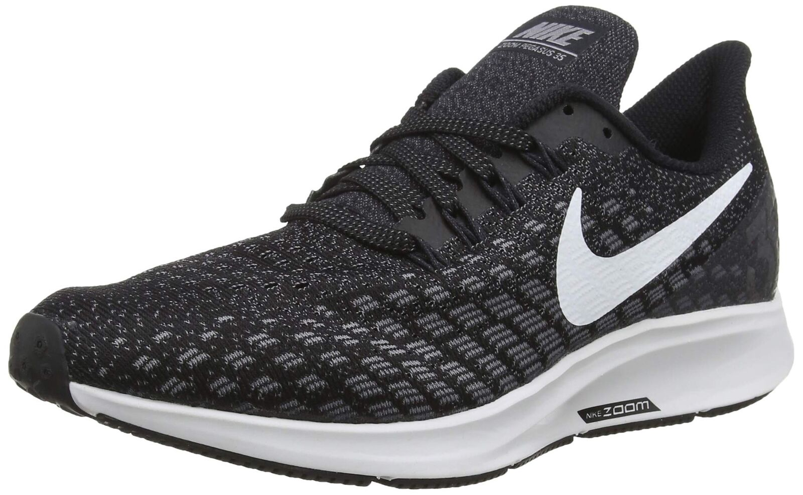 NIKE Men's Air Zoom Pegasus 35 Running shoes, Black White-Gunsmoke-Oil Grey, 8