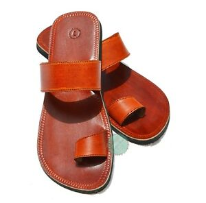 on sale a2c74 812c7 Details about Handmade Brown Leather Sandal for Men Yahshua Christian  Sandals Gents Slippers