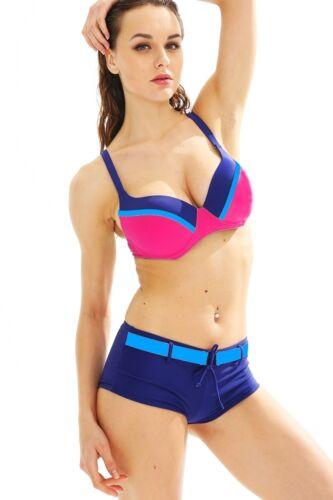 42 Maillot de Bain femme Bikini shorty armature T Bleu marine Rose fushia