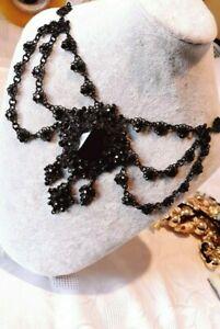 Collier Princesse,Pierre noir Vernis,strass noir sur métal Noir, gar S. nickel