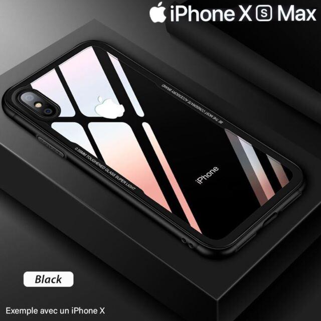 Coque Etui Cover en Verre Trempé Luxe ultra mince Premium iPhone XS MAX 6.5 Noir