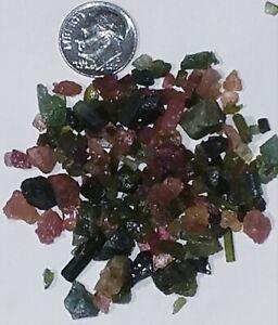 Beautiful-100-carats-Lot-Natural-Pink-amp-Green-Tourmaline-Rough-Small-Crystals