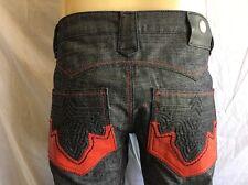 ANTIK Denim  *BOOTCUT Jeans Men's NWT Raw/Indigo Blue w*Red Pleather Size:34x34