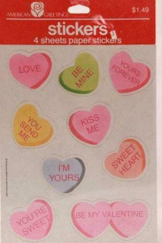 American Greetings Valentine Heart with words Stickers 4 Sheets per Package