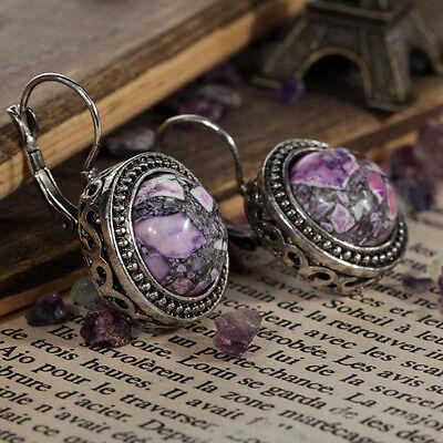 Tibetan Sliver Purple Turquoise snap closure Earrings wedding Party Jewelry xmas