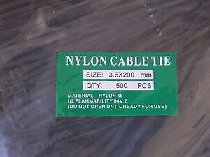 1000pcs Cable Tie Black Nylon bulk 3.6mm x 200mm