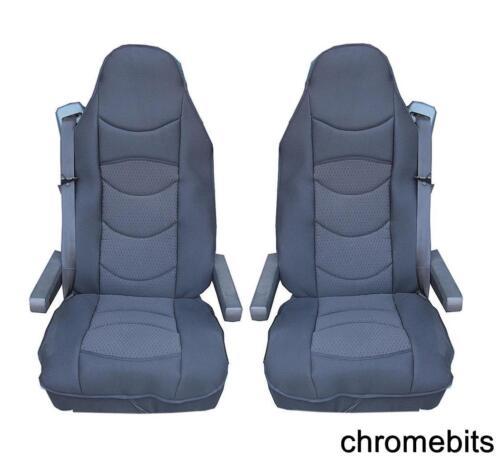 2 PCS PREMIUM BLACK COMFORT PADDED SEAT COVERS CUSHIONED FOR MAN TGA TGL TGX TGS