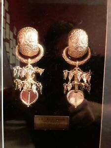 New-Gold-Earrings-National-Treasure-90-Replica-w-glassed-Case-24k-Gold-Plate