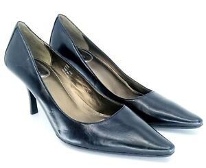 Calvin-Klein-Dolly-Pumps-Women-039-s-9-5-M-Black-Leather-Pointed-Toe-High-Heel-Shoes