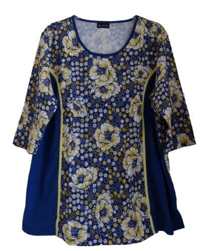 NEU Übergröße schickes Damen Shirt in blau gelb 3//4 Arm Gr.56,58,62,64,66