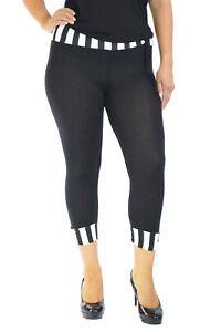 New-Womens-Plus-Size-Leggings-Ladies-Stripe-Print-Cropped-Trouser-Waist-Nouvelle