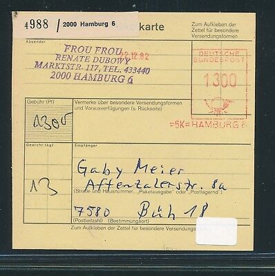 27733 Post-fs 1300pf Auf Dem Internationalen Markt Hohes Ansehen GenießEn Paketkarte 1982 Ab Hamburg 6