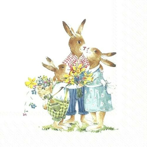 4 papel de Almuerzo Servilletas Para Decoupage Mesa de fiesta familia de Pascua Vintage Craft