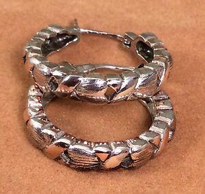 Vintage-925-Fine-Sterling-Silver-Ladies-Hoop-Design-Earrings