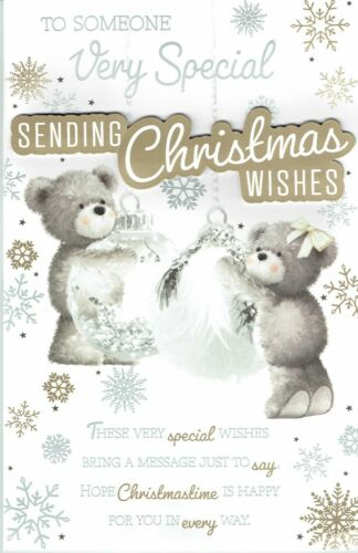 Pour une personne très spéciale ~ fabuleuse grande carte de Noël 8 pages insert Ours