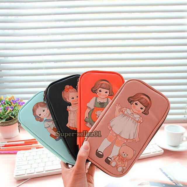 Colorful Cute Kids PU Leather Doll Pen Pencil Case Bag Stationery Cosmetic Bag