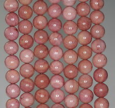 8MM HAITIAN FLOWER RHODONITE GEMSTONE PINK RED GRADE A ROUND LOOSE BEADS 15.5""