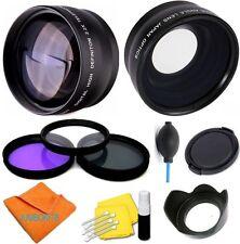 Wide Angle + Telephoto Lens, Filters +HOOD + CAP for Panasonic Lumix DMC-FZ200