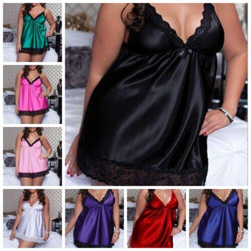 Women Lingerie Lace Robe Babydoll Dress Sleepwear+G-string Underwear Nightwear