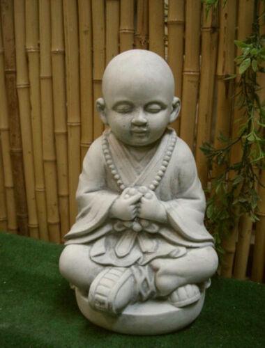 Drupe stone cast Buddha Mönch frostproof meditation Gartendeko height approx 28 cm
