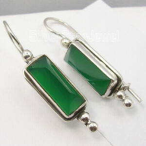 Green-Green-Onyx-Dangle-Earrings-New-Wholesale-Jewelry-925-Sterling-Silver