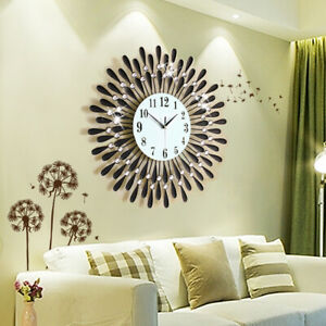 60CM-CLEAR-DIAMANTE-BLACK-SUNFLOWER-METAL-SPIKED-WALL-CLOCK-BEADED-JEWELED-HOT