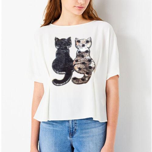 2Pcs DIY Cat Reversible Change Color Sequin Embroidery Patch Sew on Applique
