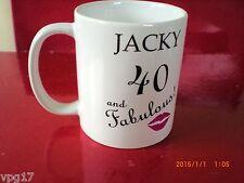 JACKY 40 AND FABULOUS RED LIPS WHITE  CHINA  MUG  NEW