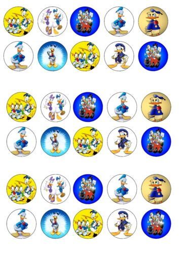 DISNEY DONALD DUCK EDIBLE RICE WAFER PAPER CUP CAKE TOPPER X30