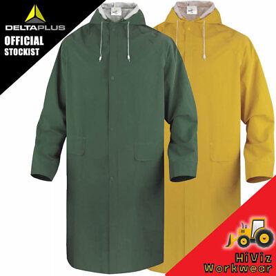 New Mens Waterproof Long Rain Coat PVC Wet Work Kagoul Jacket Fishing Mac Jacket